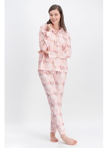 Arnetta Arnetta Leaf Pembe Kadın Büyük Beden Gömlek Pijama Pembe